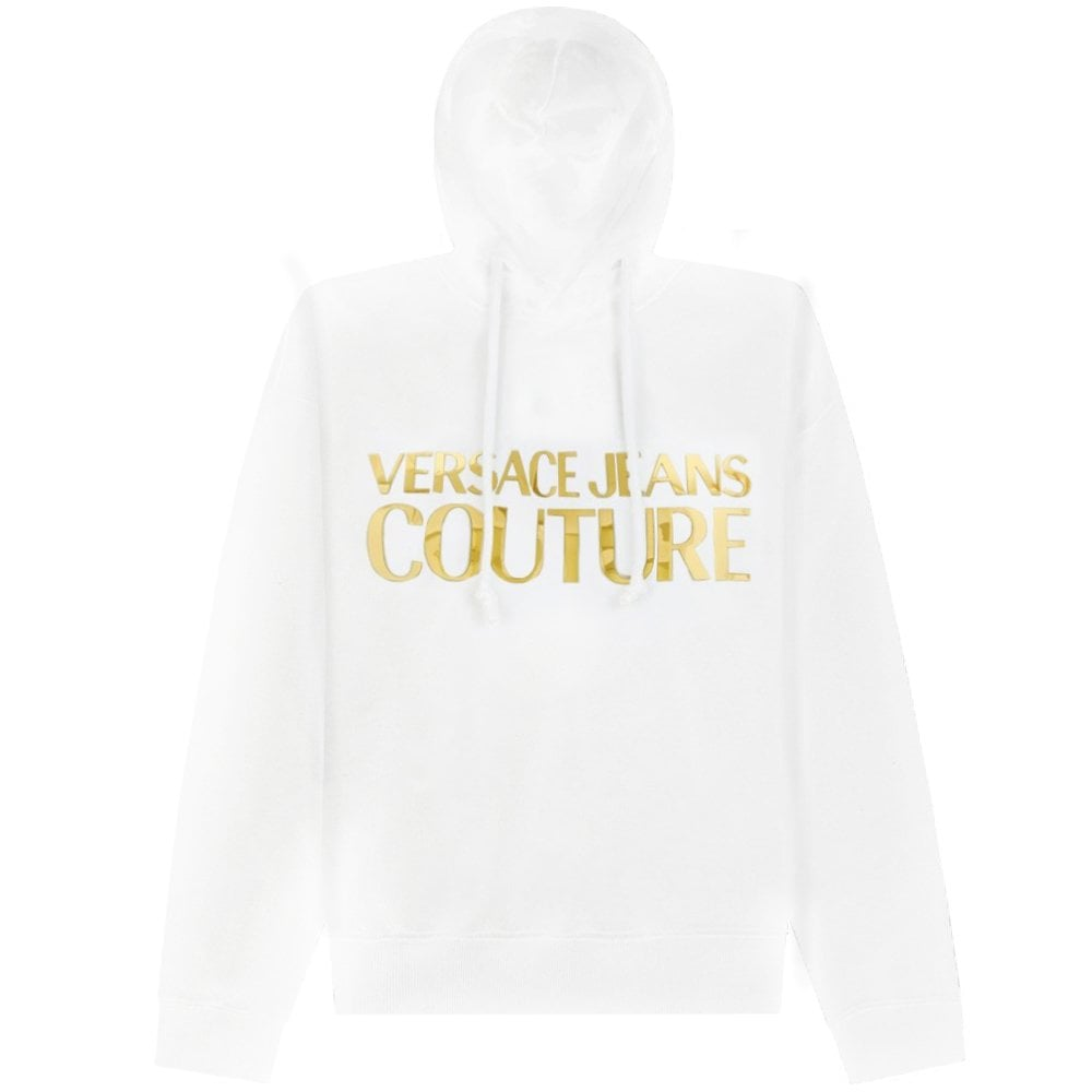 Versace Jeans Couture Gold Logo Print Hoodie Colour: BLACK, Size: MEDI