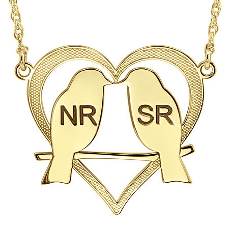 Personalized 25mm Love Birds Heart Couples Necklace, One Size , Yellow