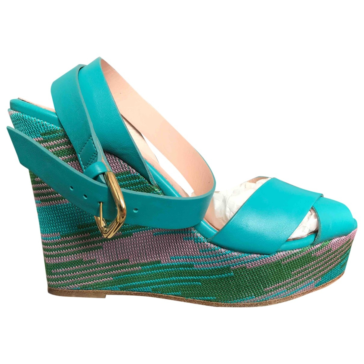 M Missoni \N Turquoise Leather Sandals for Women 40 EU