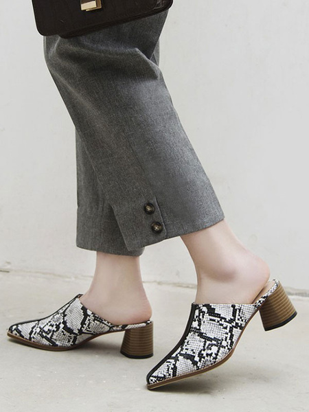Milanoo Pointed Toe Mules PU Leather White Snake Print Block Heel Shoes