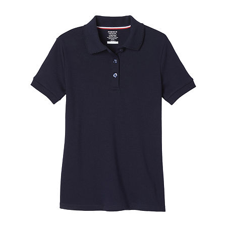 French Toast Girls Plus Short Sleeve Stretch Polo Shirt, 14-16 Plus , Blue