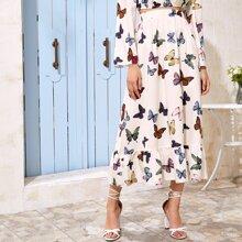 Ruffle Hem Butterfly Print Skirt