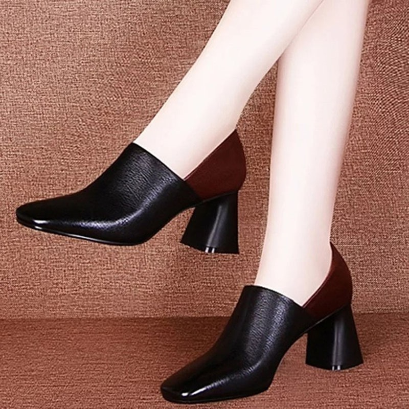 Ericdress Square Toe Slip-On Chunky Heel Professional Thin Shoes