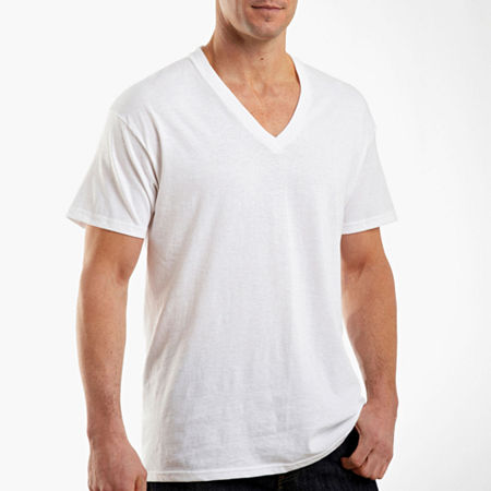 Hanes Comfortblend 4 Pack Short Sleeve V Neck T-Shirt, Large , White