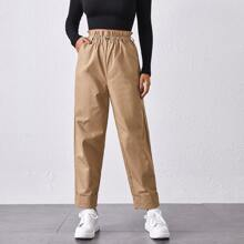 Paperbag Waist Roll Hem Solid Pants