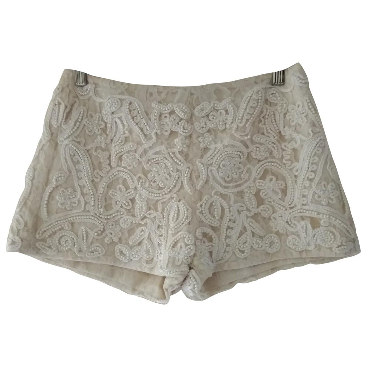 Zara \N Ecru Cotton Shorts for Women M International