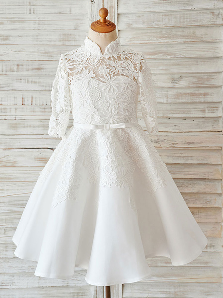 Milanoo Ivory Lace Satin High Neck Long Sleeves Wedding Flower Girl Dress