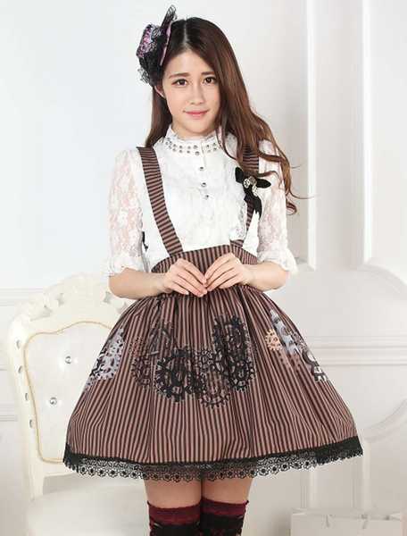 Milanoo Gear Print Lace Lolita Skirt