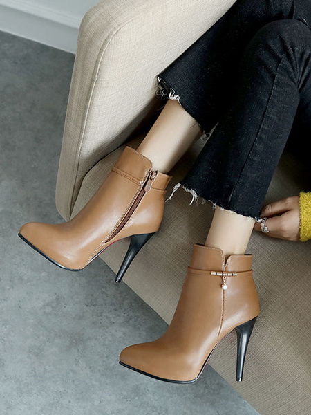 Milanoo High Heel Booties Brown Pointed Toe Metal Detail Ankle Boots For Women