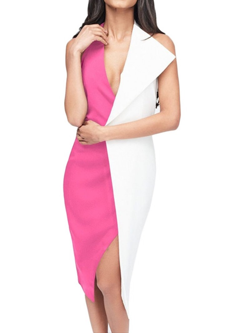 Ericdress Patchwork Sleeveless V-Neck Color Block Halter Dress