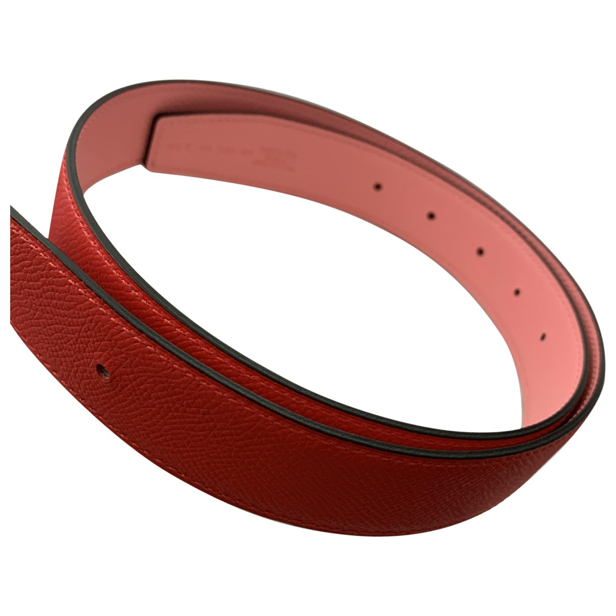 Hermès Cuir seul / Leather Strap Red Leather belt for Women 75 cm
