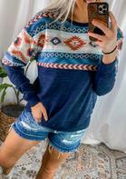 Aztec Geometric Western Cowgirl T-Shirt Tee - Blue