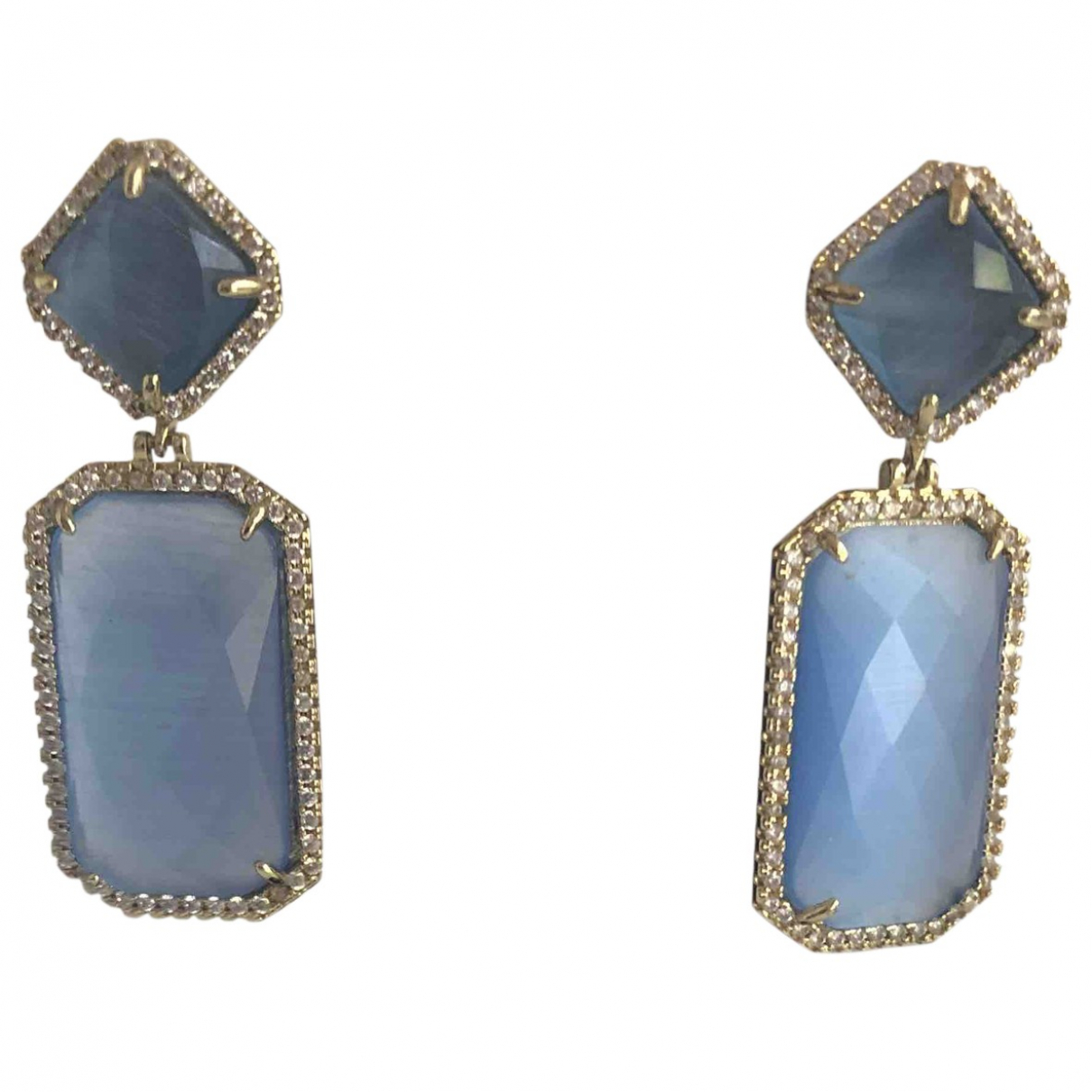 Non Sign?? / Unsigned \N Blue Metal Earrings for Women \N
