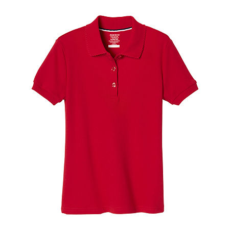 French Toast Girls Plus Short Sleeve Stretch Polo Shirt, 10-12 Plus , Red