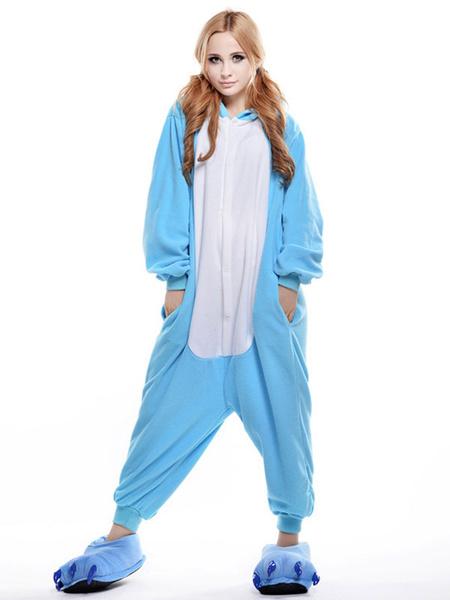 Milanoo Kigurumi Pajamas Blue Hippo onesie Unisex For Adult Synthetic Mascot  Mascot Costume Halloween