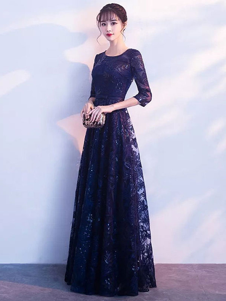 Milanoo Black Prom Dresses Long Lace Sequin Evening Dress Half Sleeve Illusion Sash Floor Length Formal Gowns