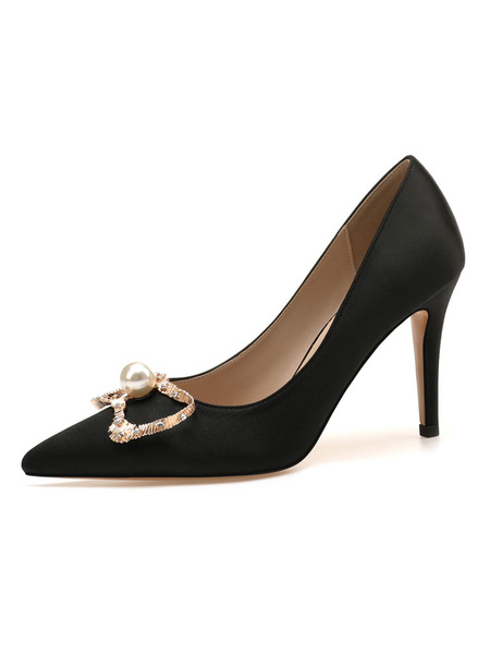 Milanoo Women\'s Pumps Pointed Toe Stiletto Heel Pearls Classic Low-Tops Women\'s Pumps