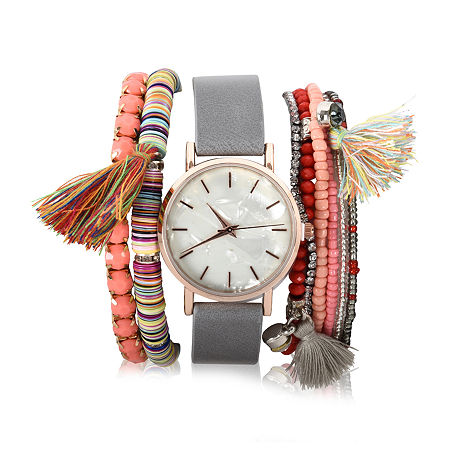 Mixit Womens Gray Leather Strap Watch-Wac7089jc, One Size , No Color Family