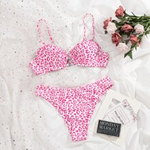 Leopard Underwire Bikini Swimsuit