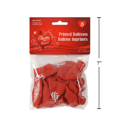 Heart Shaped Balloons Red Helium Quality V'tines 9