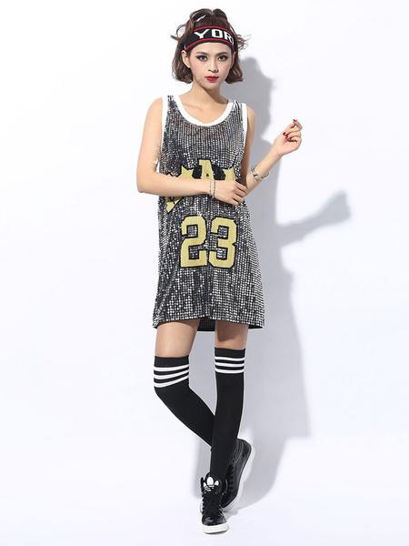 Milanoo Hip Hop Dance Costumes Letter Sequin Women Street Dancing Costume
