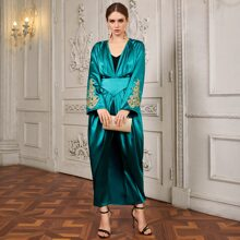 Gold Floral Applique Bell Sleeve Pleated Satin Jumpsuit With Skirt