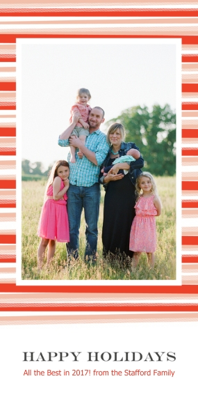 Holiday Photo Cards Flat Matte Photo Paper Cards with Envelopes, 4x8, Card & Stationery -Blanket Border Happy Holidays