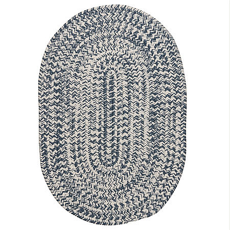 Colonial Mills Biscayne Tweed Braided Oval Reversible Indoor/Outdoor Rugs, One Size , Blue