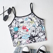 Allover Cartoon Graphic Ringer Cami