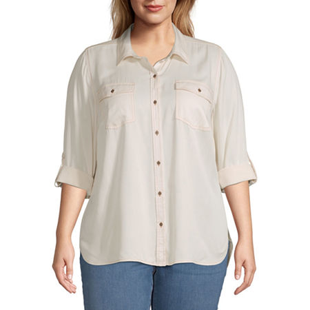 a.n.a-Plus Womens Long Sleeve Button-Front Shirt, 5x , White
