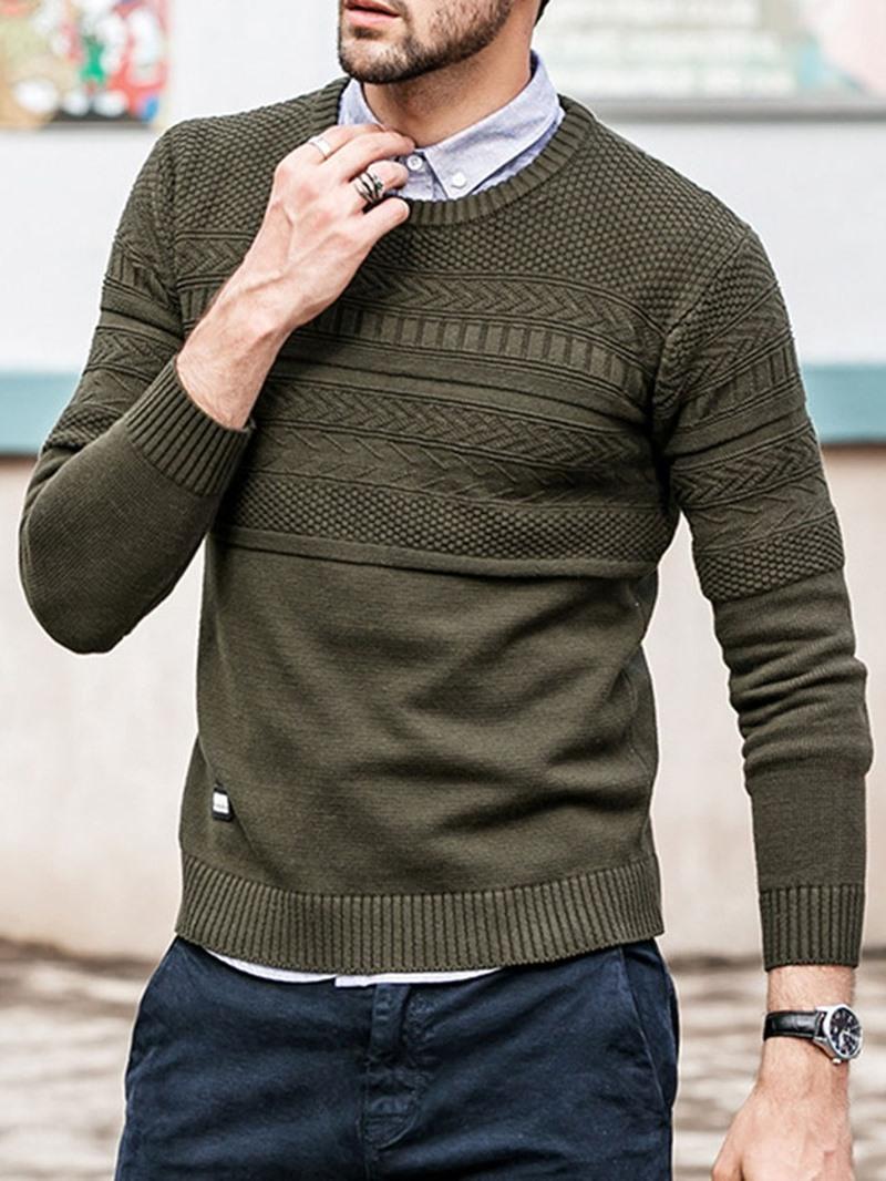 Ericdress Standard Plain Round Neck Slim Men's Casual Sweater