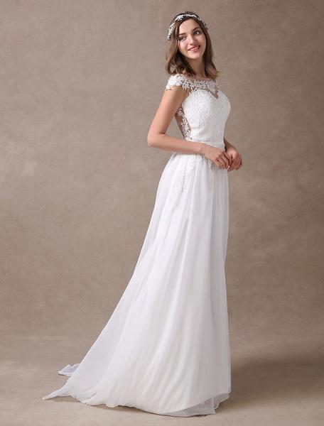 Milanoo Wedding Dresses Ivory Lace Chiffon Beach Bridal Dress Sweetheart Neckline Illusion Sleeveless Summer Wedding Gowns With Train
