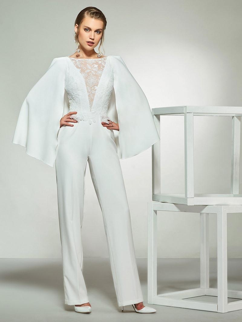 Ericdress Button Lace Sheath Wedding Jumpsuits