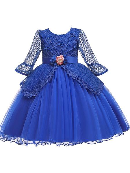 Milanoo Flower Girl Dresses Jewel Neck Polyester Cotton 3/4 Length Sleeves Knee Length Princess Silhouette Flowers Formal Kids Pageant Dresses
