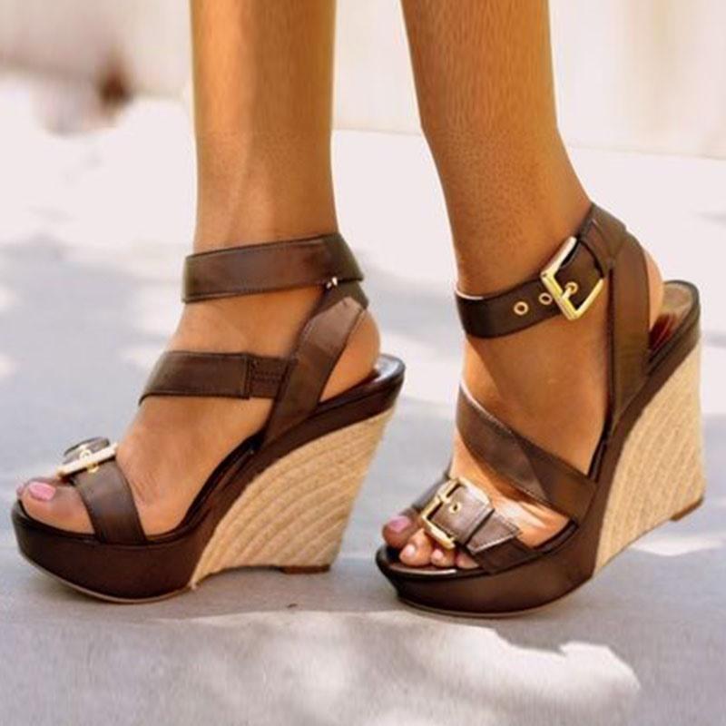 Ericdress Hasp Open Toe Platform Wedge Heel Espadrille Sandals
