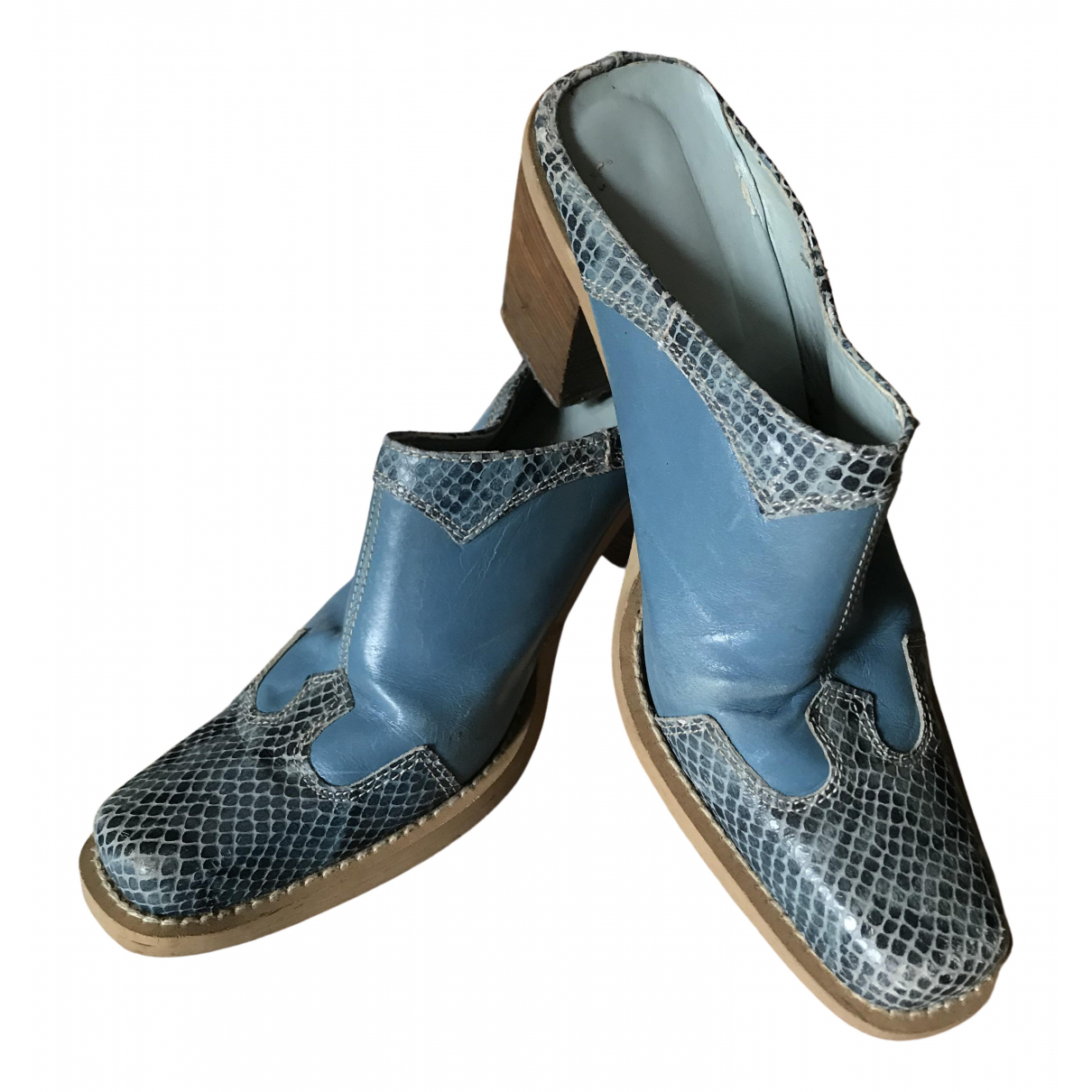 Non Signé / Unsigned Hippie Chic Blue Leather Mules & Clogs for Women 37 EU