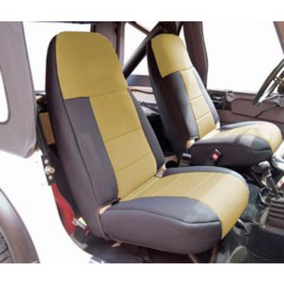 Coverking 50/50 High Back Neoprene Front Seat Covers (Black/Tan) - SPC251