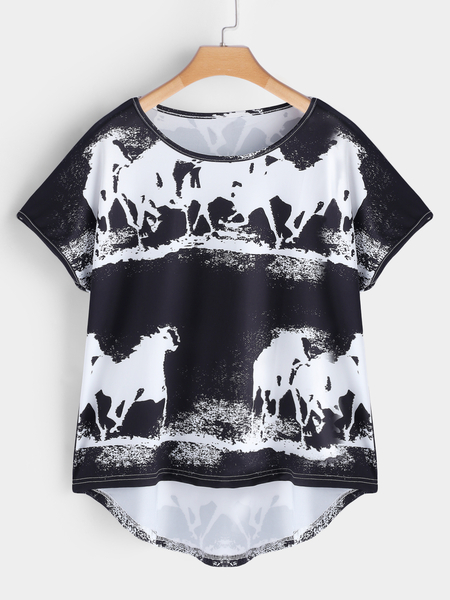 Yoins Plus Size Black Printed Short Sleeves T-shirt
