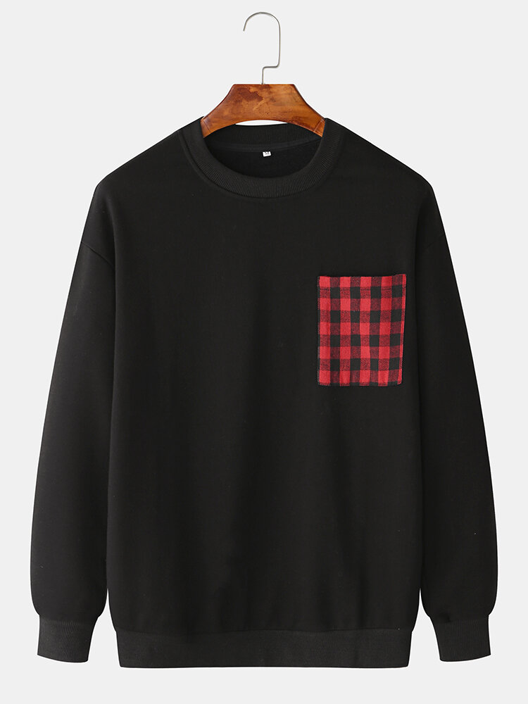 Mens Plain Solid Color Plaid O-neck Sweatshirts