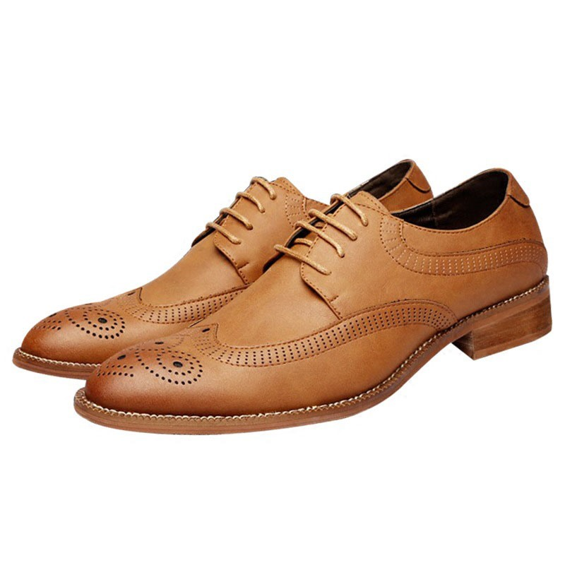 Ericdress Plain Lace-Up Block Heel Men's Oxfords