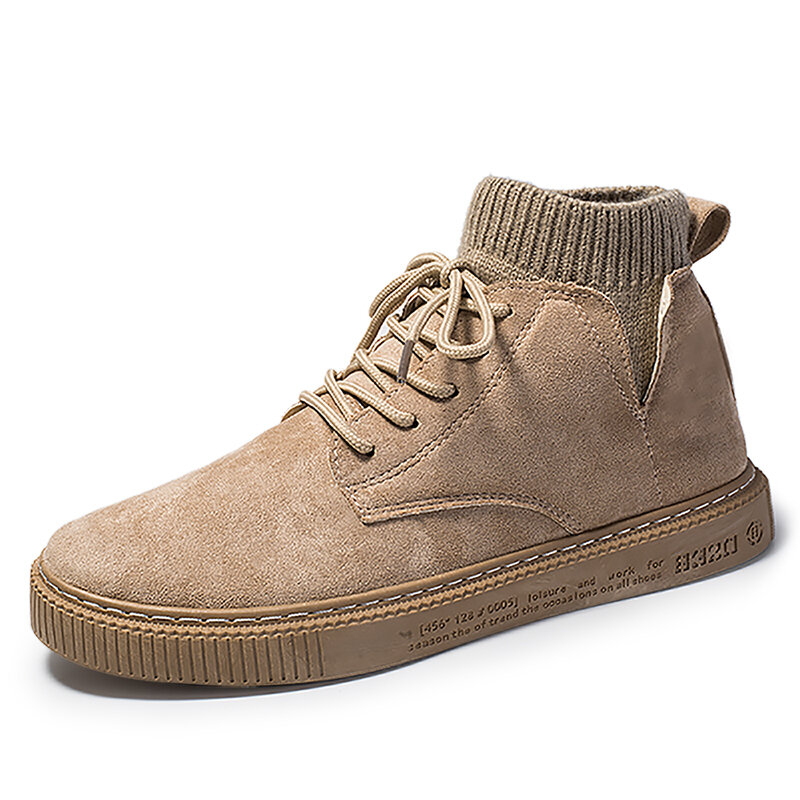 Men Synthetic Suede Lace Up Comfy Sock Ankle Boots