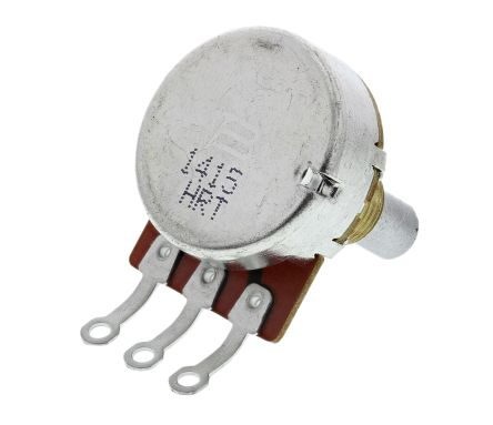 Bourns 1 Gang Rotary Carbon Potentiometer with an 6.35 mm Dia. Shaft - 500kΩ, ±15%, 0.25W Power Rating, Logarithmic,