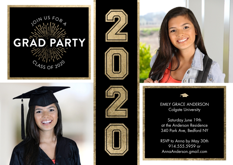 2020 Graduation Invitations 5x7 Cards, Premium Cardstock 120lb with Elegant Corners, Card & Stationery -Grad Party 2020 Shiny by Tumbalina