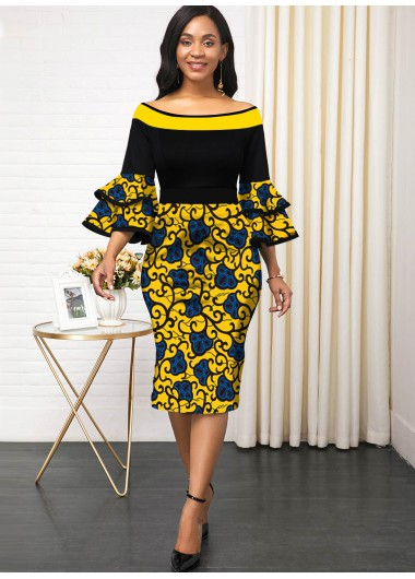 Women'S Yellow Tribal Printed Layered Bell Sleeve Vintage Spring Dress Zipper Closure Three Quarter Sleeve Elegant Cocktail Party Dress By - 14
