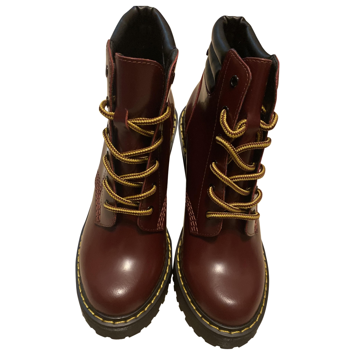Dr. Martens \N Burgundy Leather Ankle boots for Women 36 EU