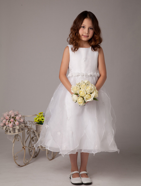 Milanoo Sweet White A-line Satin First Communion Dress