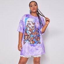 Plus Tie Dye Butterfly Print Longline Tee