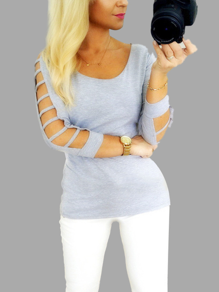 Yoins Grey Round Neck Shirt with Cut Out Details