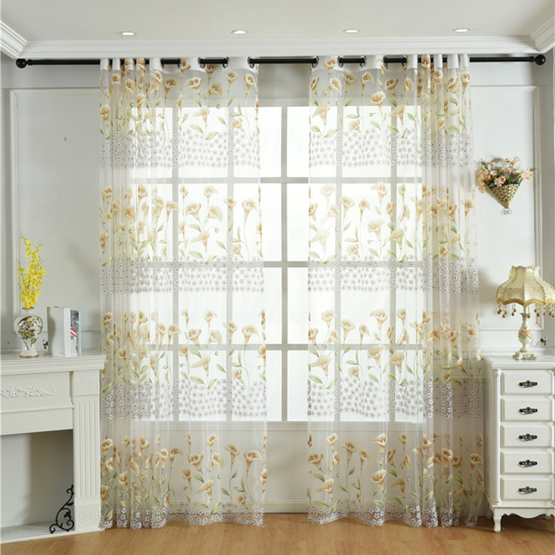 Pastoral Style Morning Glory Print Custom Living Room Sheer Curtains Breathable Voile Drapes Never Fading Cracking Peeling or Flaking