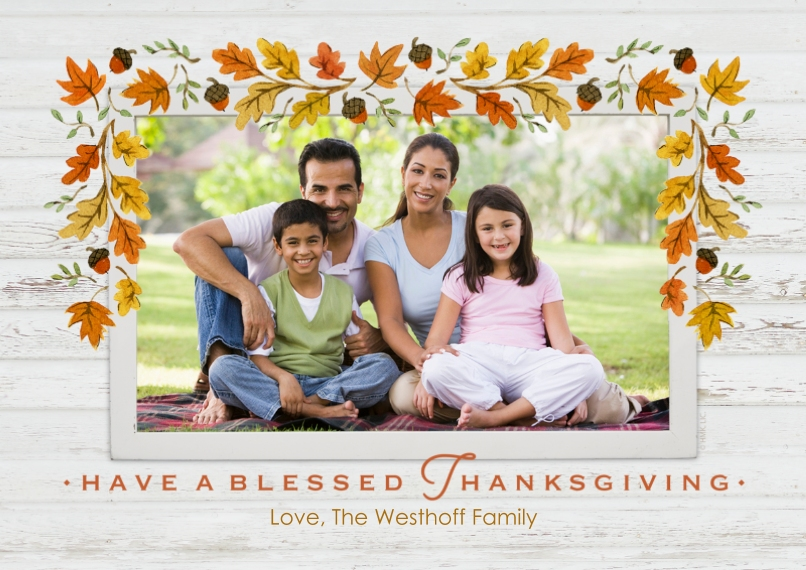 Thanksgiving Photo Cards Flat Matte Photo Paper Cards with Envelopes, 5x7, Card & Stationery -Fall Leaves Border by Hallmark